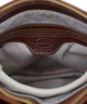 bolso mochila en cuero italiano marrón interior
