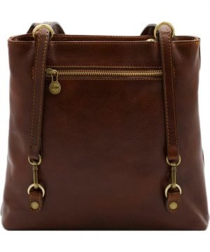 bolso mochila en cuero italiano marrón piel italia