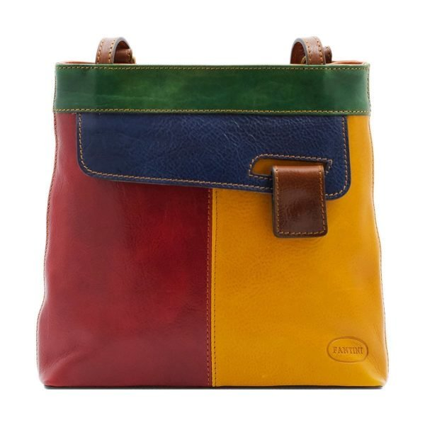 bolso mochila en cuero italiano multicolor