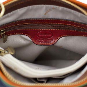 bolso mochila en cuero italiano multicolor interior