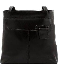bolso mochila en cuero italiano negro