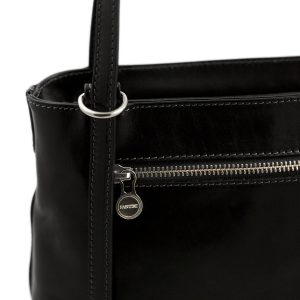 bolso mochila en cuero italiano negro cremallera