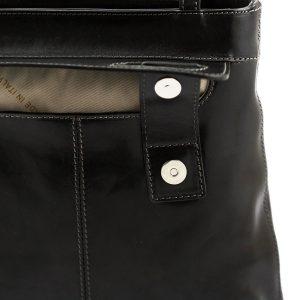 bolso mochila en cuero italiano negro fantini cuero italiano