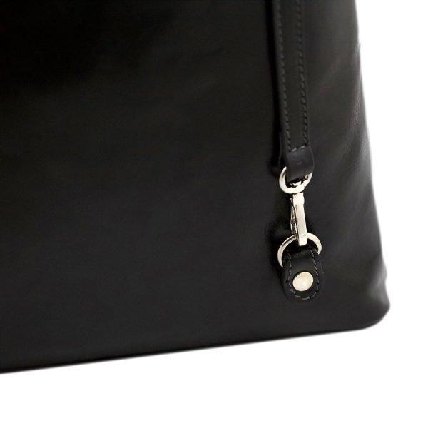 bolso mochila en cuero italiano negro fantini pelletteria