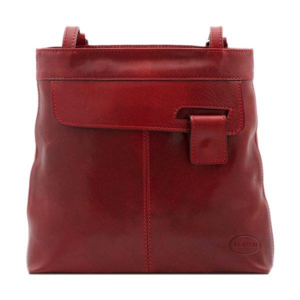 bolso mochila en cuero italiano rojo