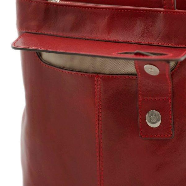 bolso mochila en cuero italiano rojo fantini cuero italiano