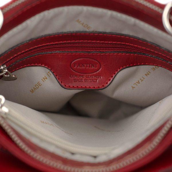 bolso mochila en cuero italiano rojo interior