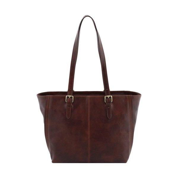 bolso shopping cuero marrón