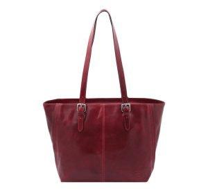 bolso shopping cuero rojo