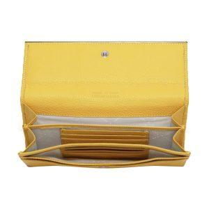 cartera mujer cuero made in italy amarillo monedero piel