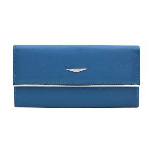cartera mujer cuero made in italy azul celeste fantini pelletteria