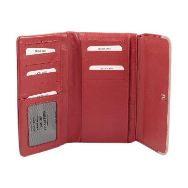 carteras piel mujer made in italy rojo interior monedero