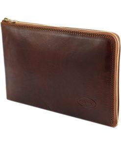 portafolio grande de cuero con cierre marrón
