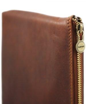 portafolio grande de cuero con cierre marrón artículos de cuero italiano