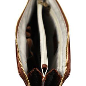 portafolio grande de cuero con cierre marrón cuero italiano