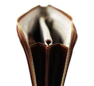 portafolio grande de cuero con cierre marrón interior