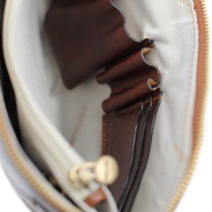 portafolio grande de cuero con cierre marrón made in italy