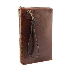 portafolio grande de cuero con cierre marrón mango