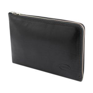 portafolio grande de cuero con cierre negro