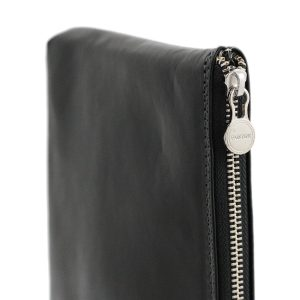 portafolio grande de cuero con cierre negro artículos de cuero italiano