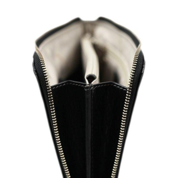 portafolio grande de cuero con cierre negro cuero italiano