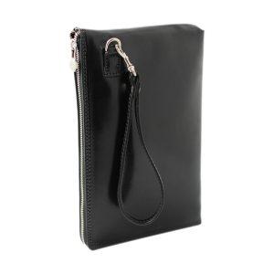 portafolio grande de cuero con cierre negro mango