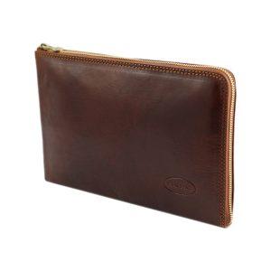 portafolio pequeño de cuero con cierre marrón