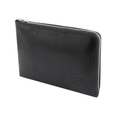 portafolio pequeño de cuero con cierre negro
