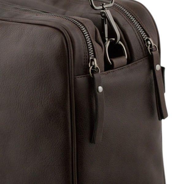 bolso de cuero multifuncional marrón cierre cremallera