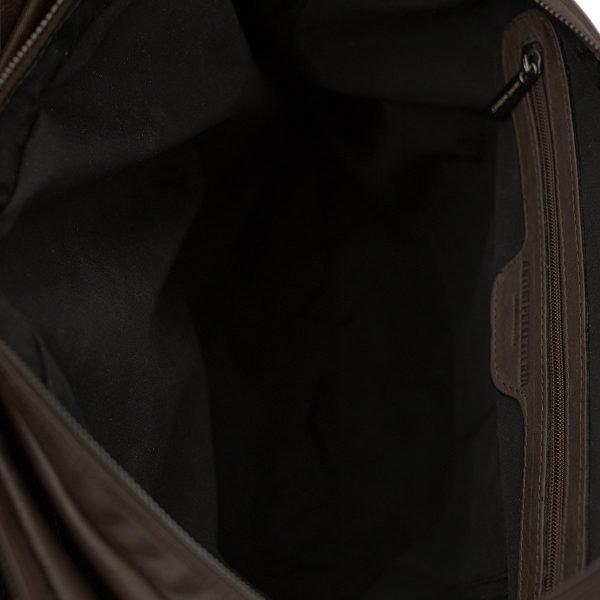 bolso de cuero multifuncional marrón interior