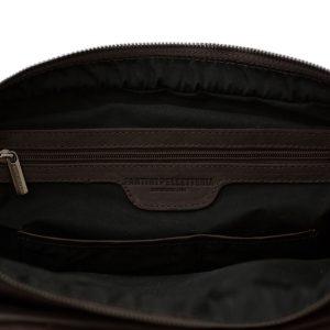 bolso de cuero multifuncional marrón made in italy