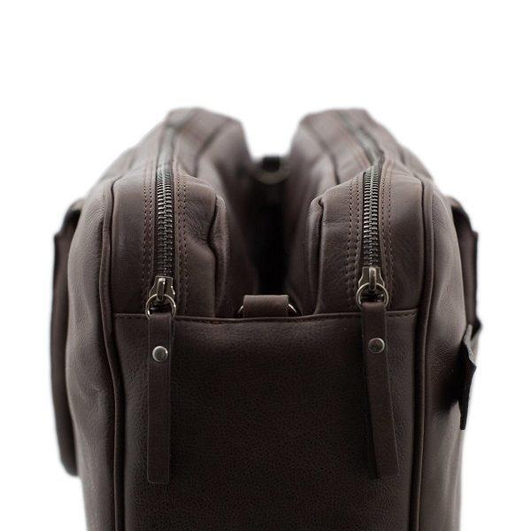 bolso de cuero multifuncional marrón maletín piel