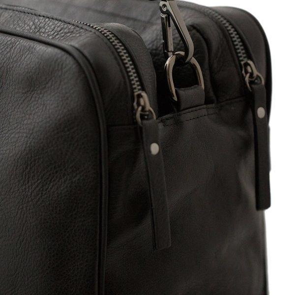 bolso de cuero multifuncional negro cierre cremallera