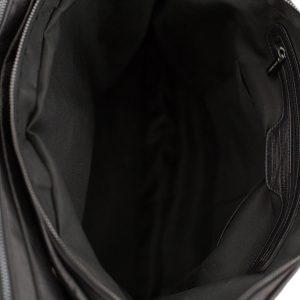 bolso de cuero multifuncional negro interior