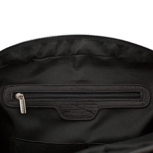 bolso de cuero multifuncional negro made in italy