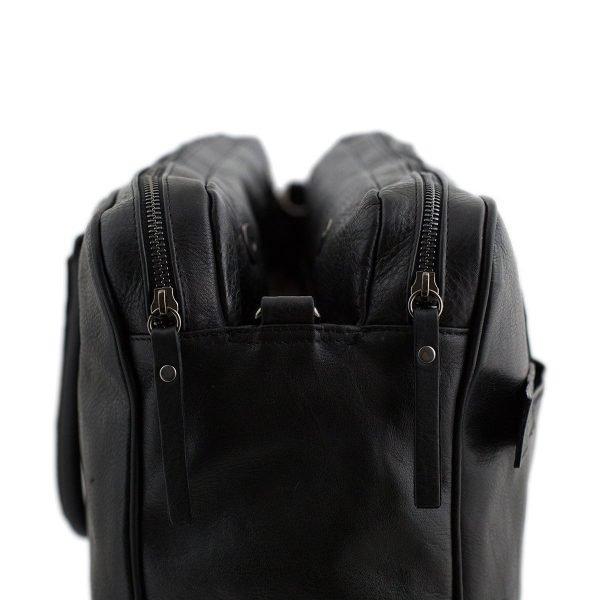 bolso de cuero multifuncional negro maletin piel