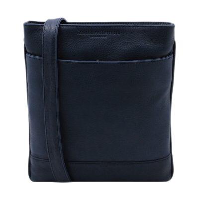 bolso hombre bandolera piel azul