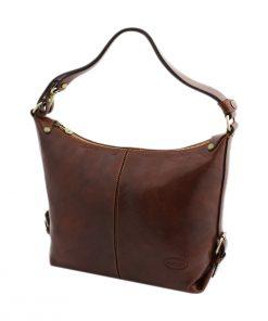bolso piel mujer marrón