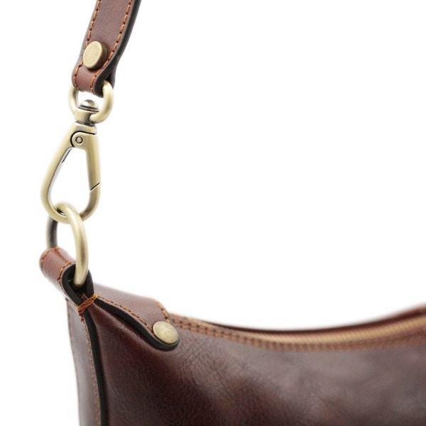 bolso piel mujer marrón cremallera