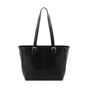 bolso shopping cuero negro