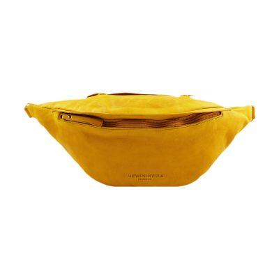 riñoneras en piel color amarillo
