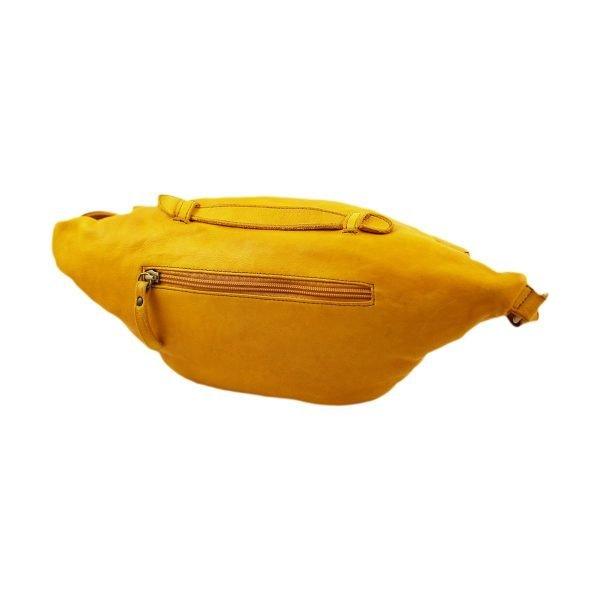 riñoneras en piel color amarillo bolsillo trasero