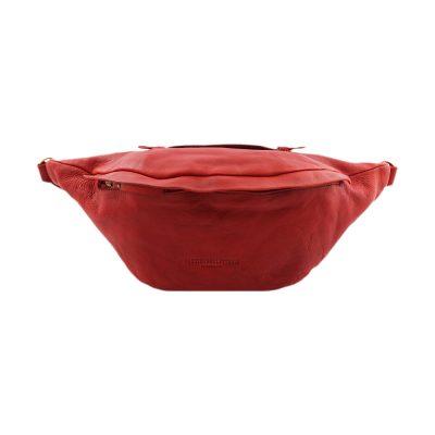 riñoneras en piel color rojo