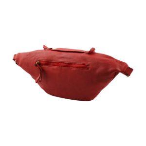 riñoneras en piel color rojo bolsillo trasero