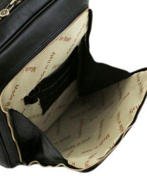 mochila de cuero negro fantini pelletteria