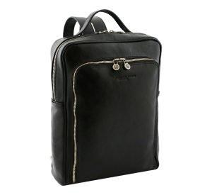 mochila de cuero negro tuscany