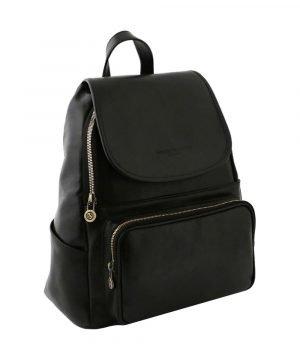 mochila en cuero negro venezia fantini pelletteria