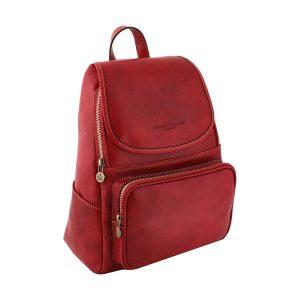 mochila en cuero rojo venezia fantini pelletteria