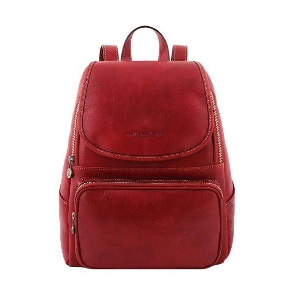 mochila en cuero rojo