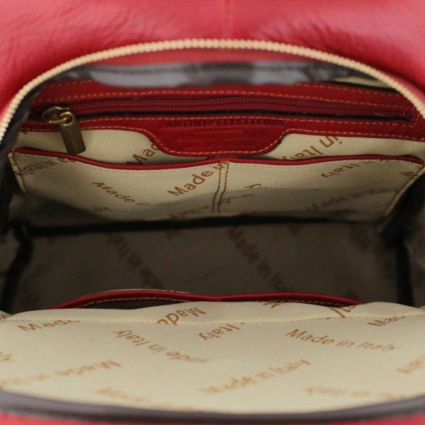 mochila en cuero roja made in italy